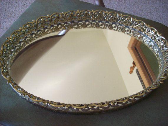 Vintage Perfume Tray Mirrored Vanity Tray by kris67 on Etsy