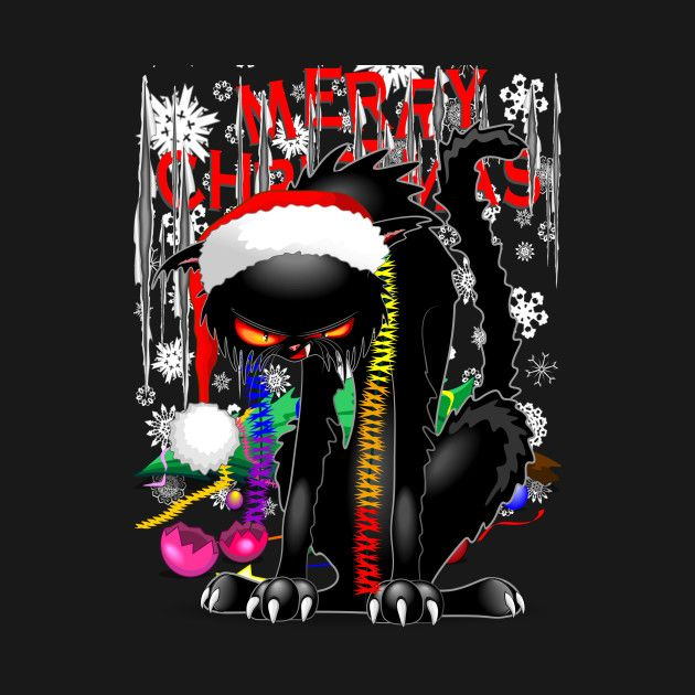 Evil Christmas Tree: Evil Black Cat VS Christmas Tree By Bluedarkart