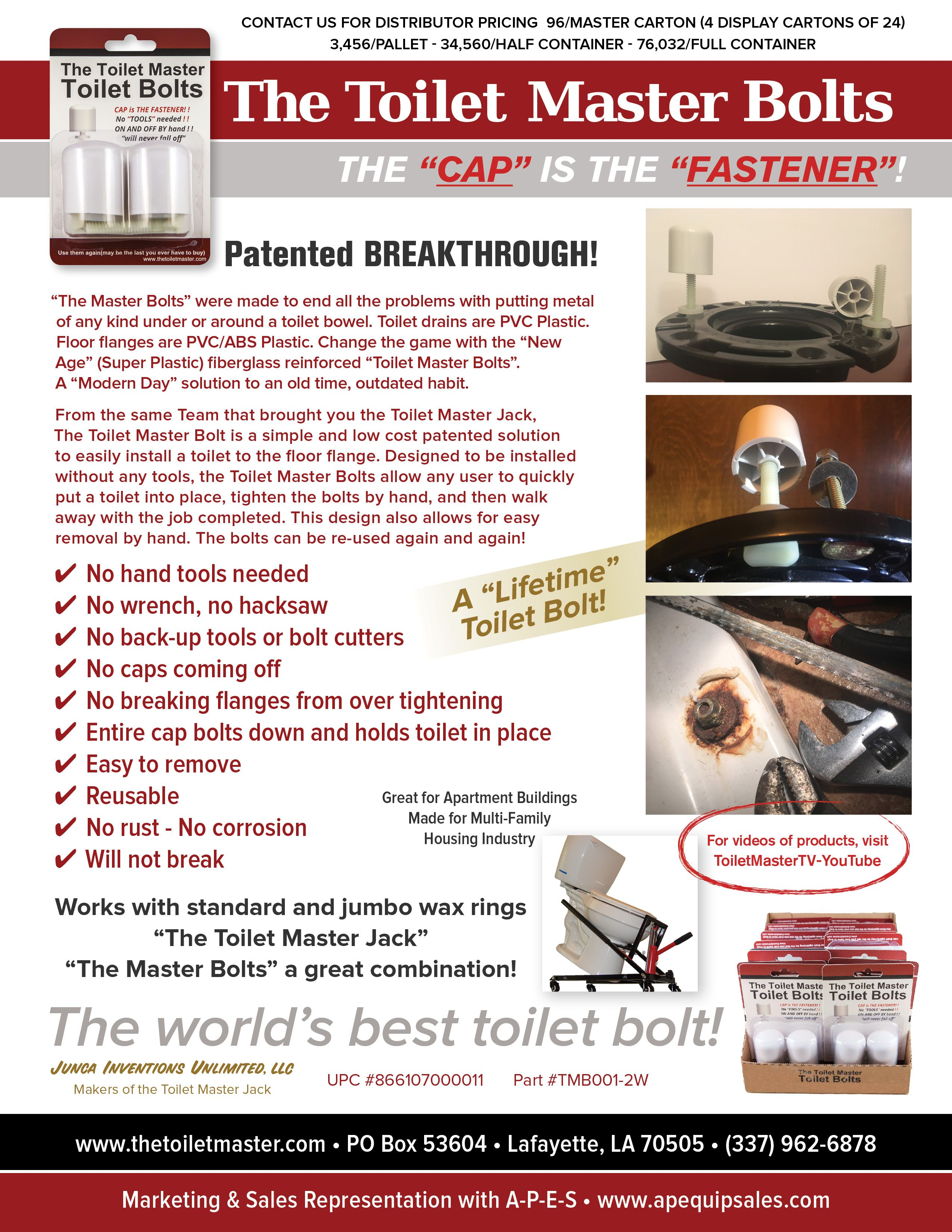 New Age Super Plastics 1200 Tensile Strength Never Rust Never Corrodes A Multi Use Toilet Bolt Made In And For The Multifamily Hou Drains Tensile Bolt