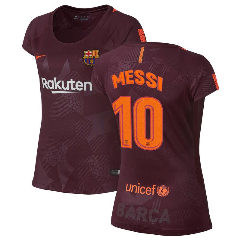 8ab4501f10a Lionel Messi Barcelona Nike Women s 2017 18 Stadium Third Replica Player  Jersey - Maroon