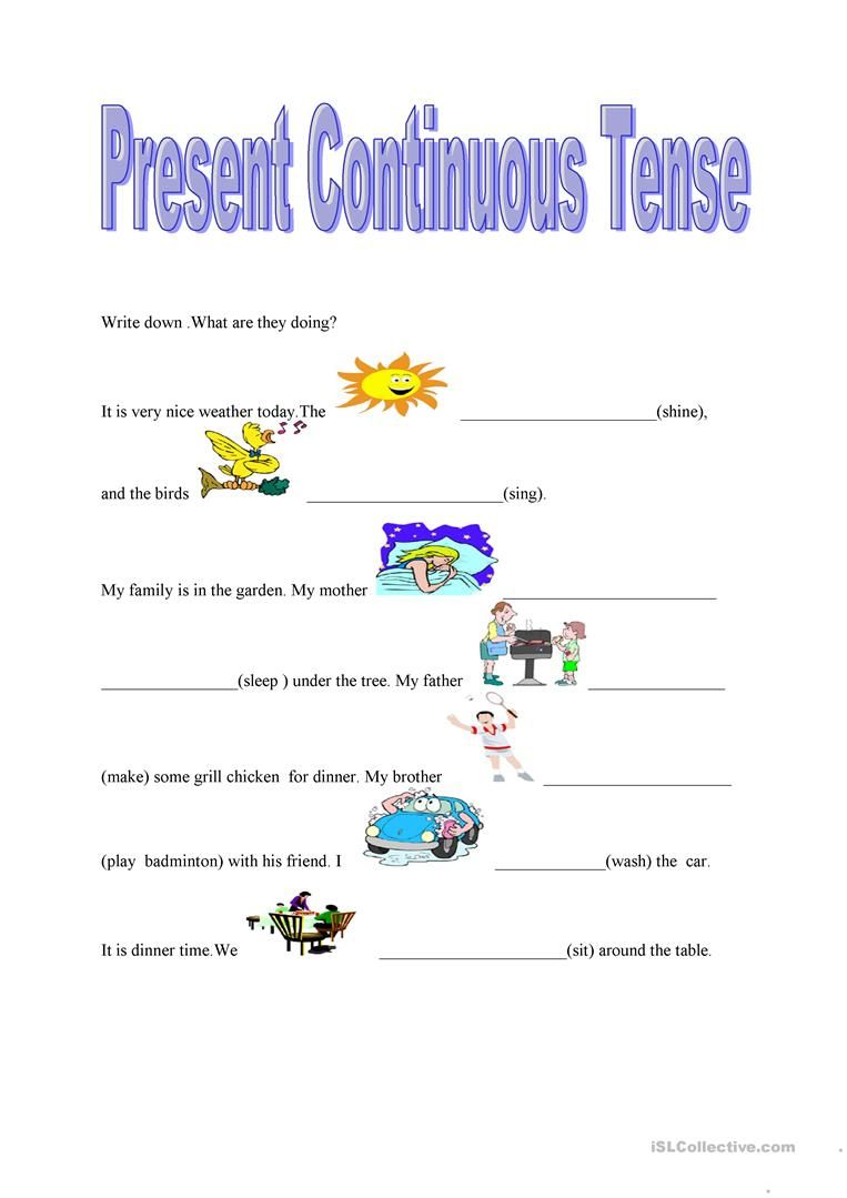 Useful Worksheets Present Continuous Tense with Present ...