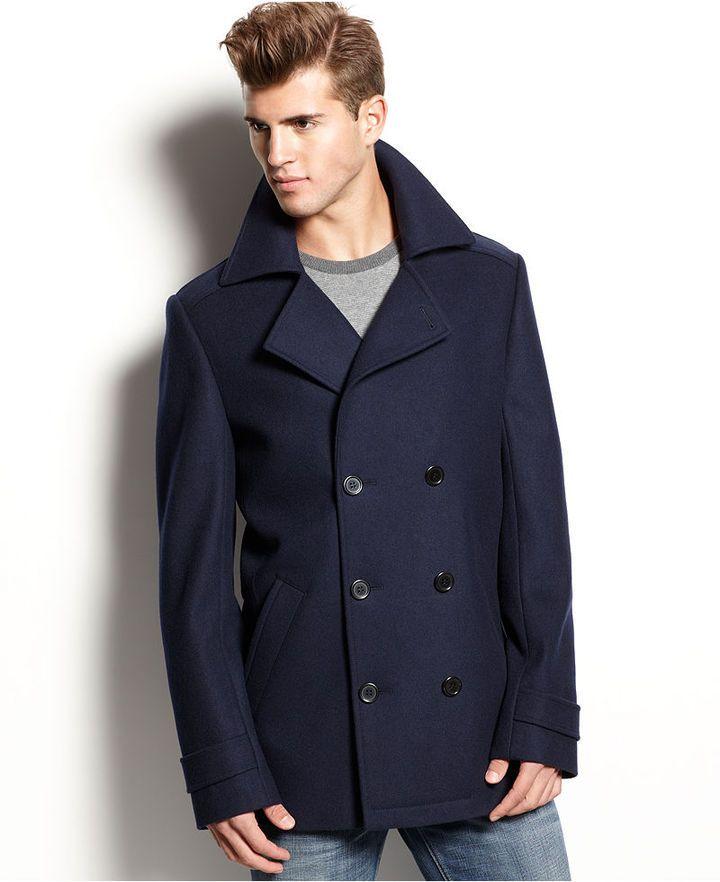 Hugo Coat Bocyn Peacoat Macys | Navy pea coat, Hugo boss and Boss