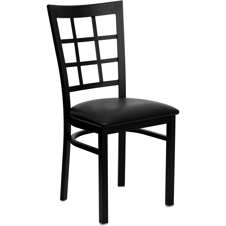 Black Window Back Metal Restaurant Chair Black Vinyl Seat Black