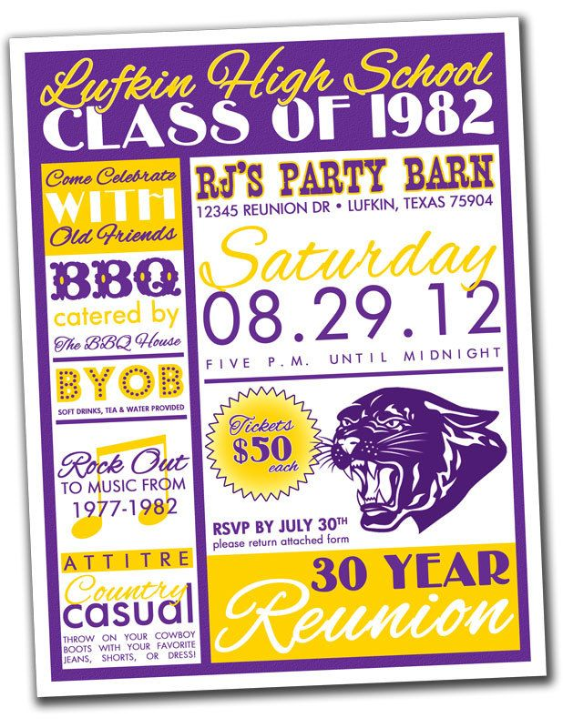 Reunion Invitation Package  High School College Family  You
