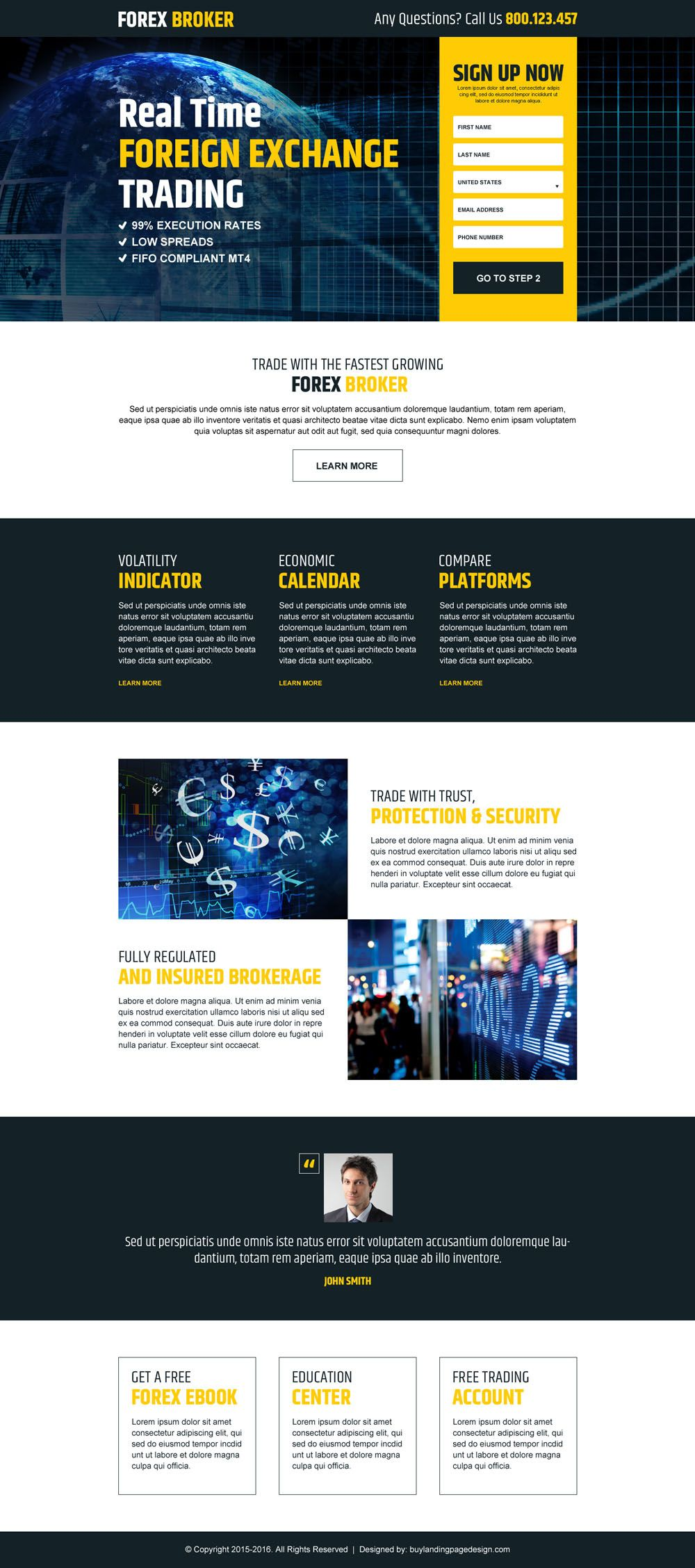 Real Time Foreign Exchange Trading Sign Up Lead Capture Landing Page
