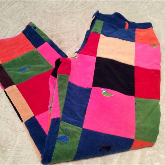 """LILY PULITZER VINTAGE PATCH CORDUROY PANTS Lilly Pulitzer patch print corduroys in VGUC !!!  Size 8. Hard to find!  30"""" length, 32"""" waist, hips 39-40"""". Slit button pocket on right rear. Lined. Lilly Pulitzer Pants Straight Leg"""