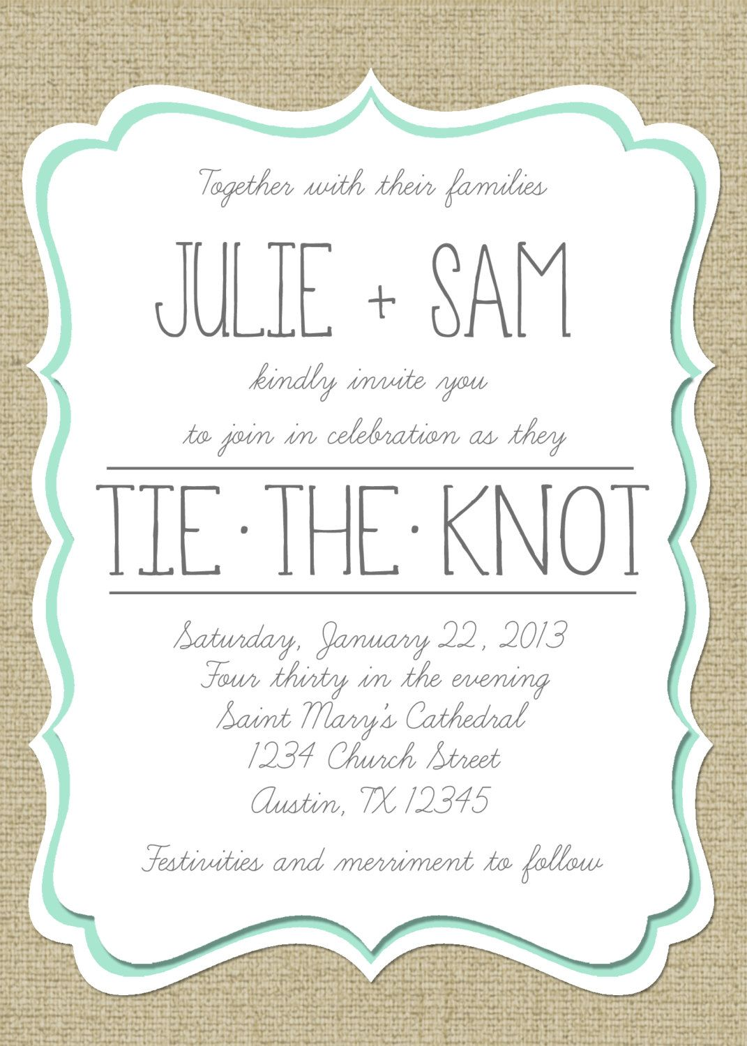 Vintage burlap wedding invitation can be made into bridal shower