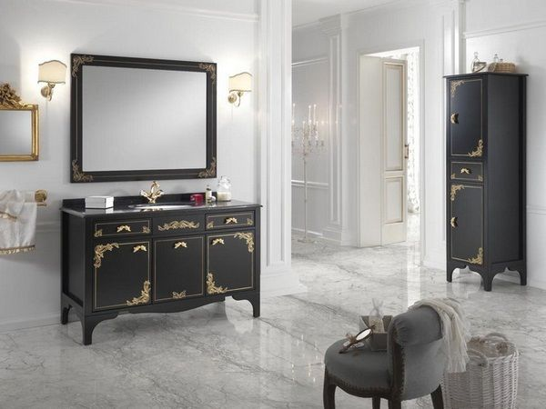 Elegant Bathroom Furniture Baroque Style Alice Purple Golden Handles Countertop  Marble Look