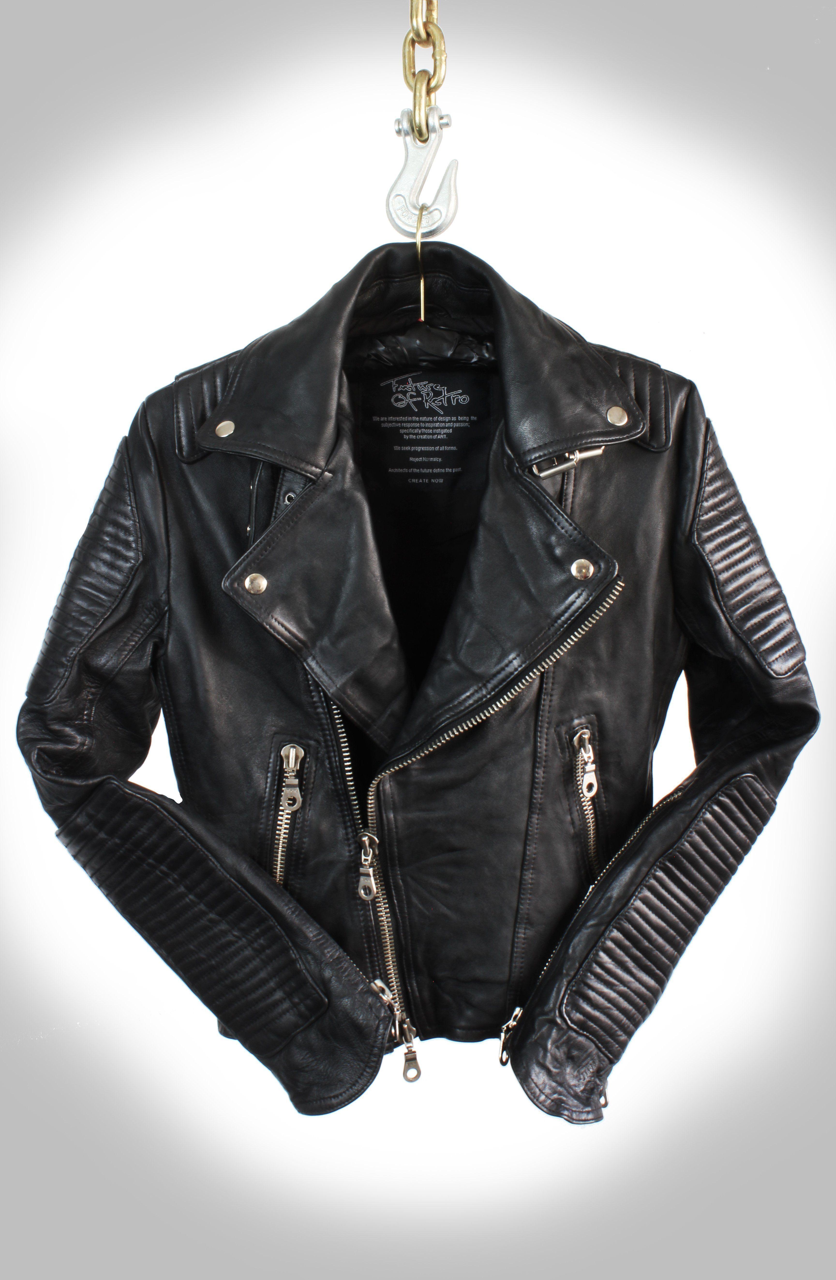 7665769ff Men's Noir Jet Black Heavy Washed Lambskin Double Rider Biker Jacket ...