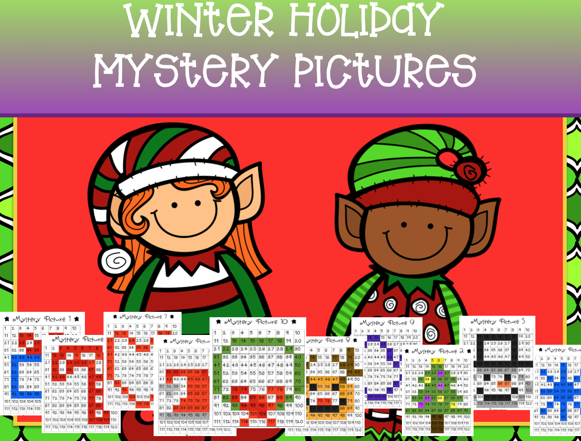 Winter Math Mystery Pictures 120 Chart Add Subtract Sequence Place Value