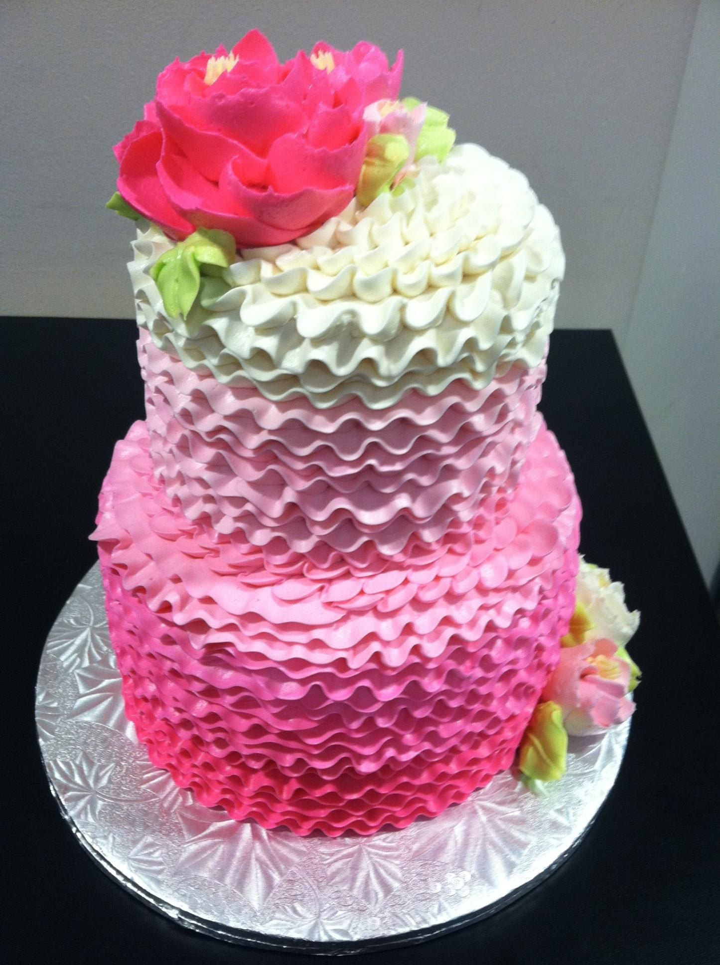 Ombre Ruffle Ercream Cake From The White Flower Pe