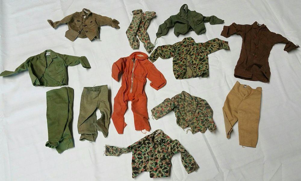 Lot Of 12 Pieces Vintage G I Joe Clothes Clothing Hasbro Jackets Shirts Pants Hasbro Shirt Jacket Pieces Vintage Clothes