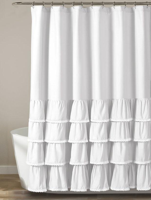 Elegant Ruffled Shower Curtain In 2020 Farmhouse Shower Curtain
