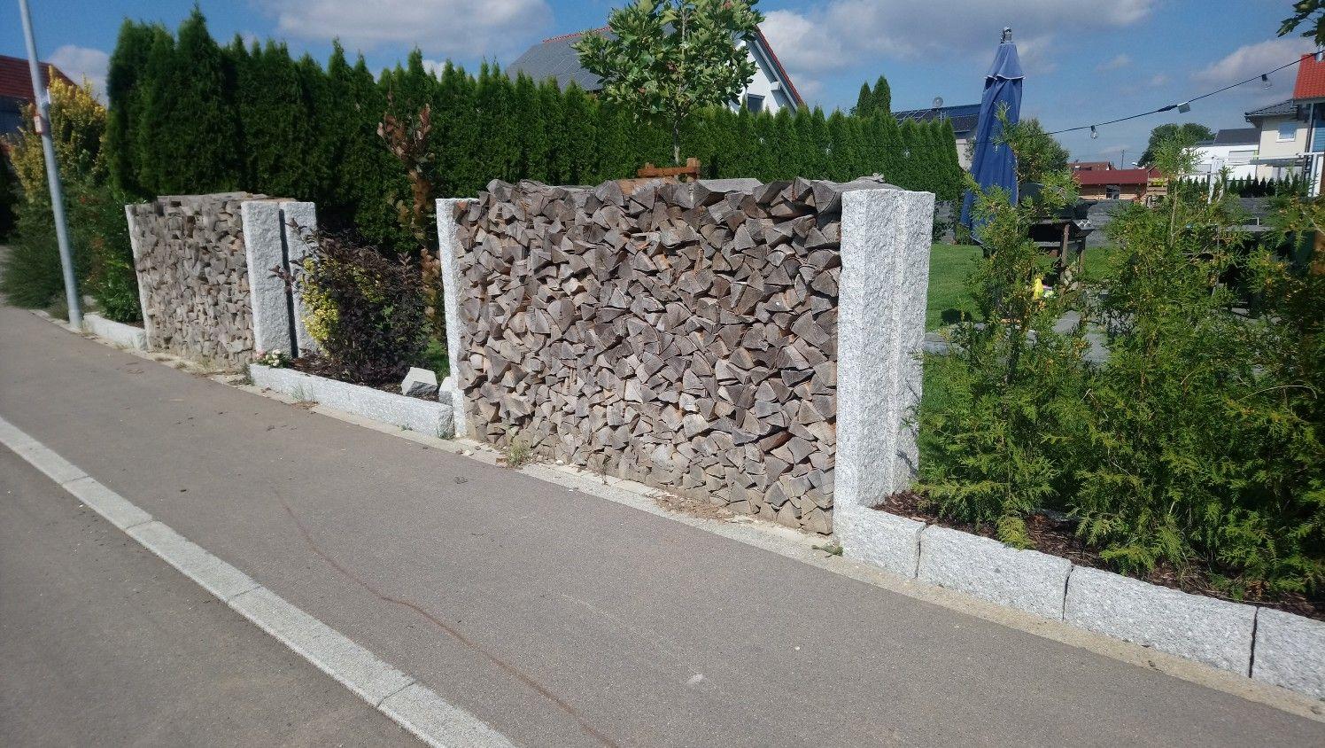 Gartenbegrenzung Garten Zaun Granit Palisade Holz Palisaden