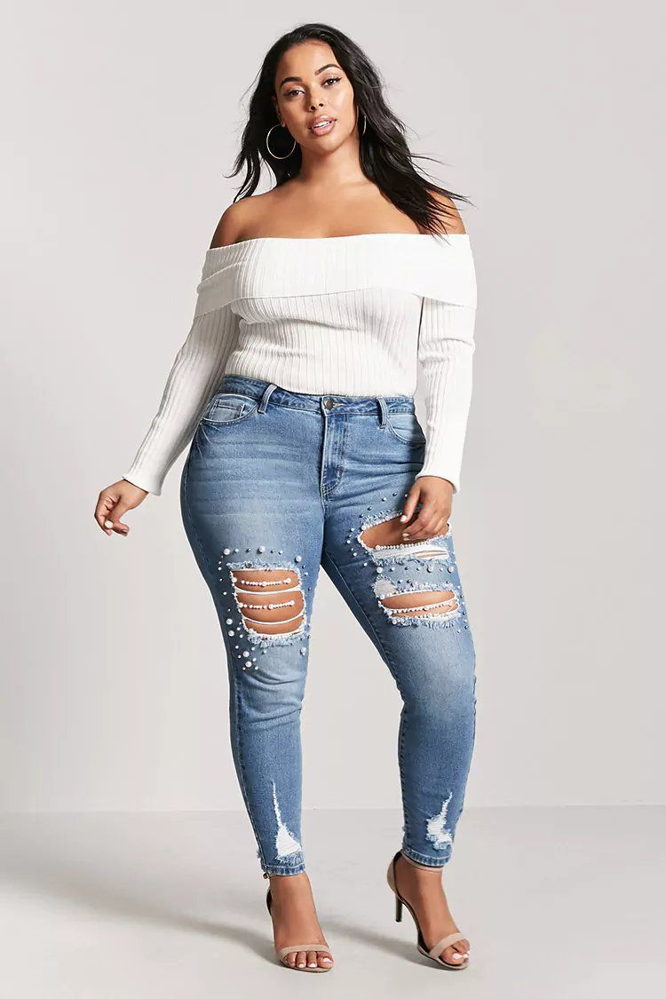 19575ec5c Product Name Plus Size Embellished High-Rise Jeans