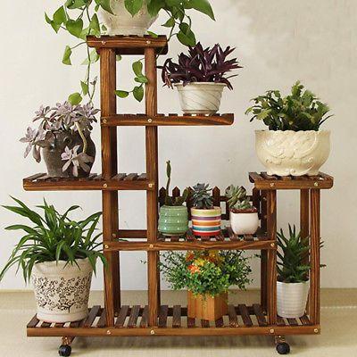 New Pine Wooden Plant Stand Indoor Outdoor Garden Planter Flower Pot Stand Shelf #plantersflowers