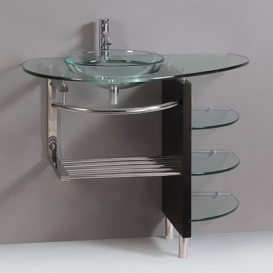 Kokols usa clear single vessel sink bathroom vanity with tempered