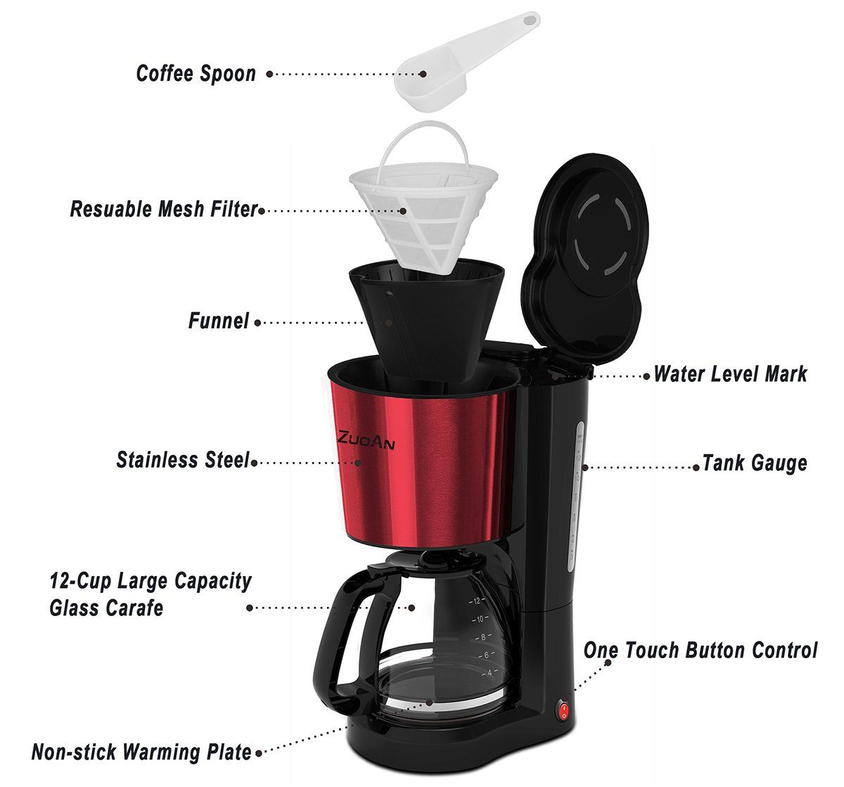 Coffee makerzuoan cup drip coffeemaker with glass coffee pot and