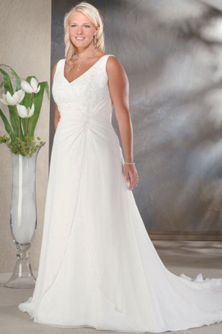 A line wedding dresses plus size  Hot Selling Plus Size Wedding Dresses A Line V Neck Court Train
