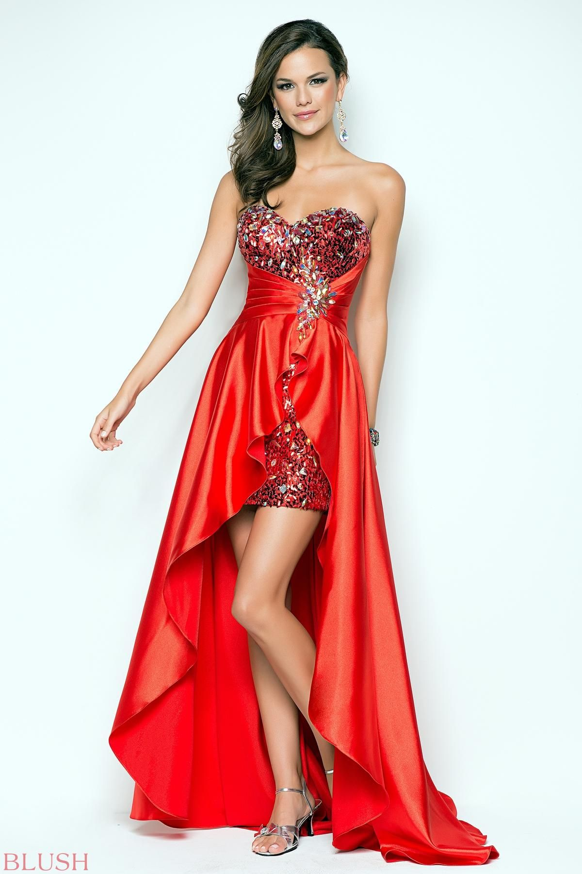 Flowy satin in a cocktail prom dress! A short beaded bustier defines ...