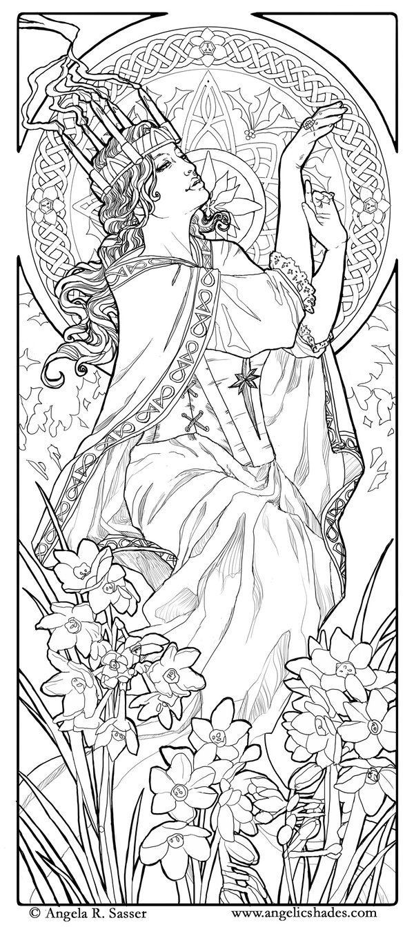 Free Coloring Page Adult Woman Art Nouveau Style