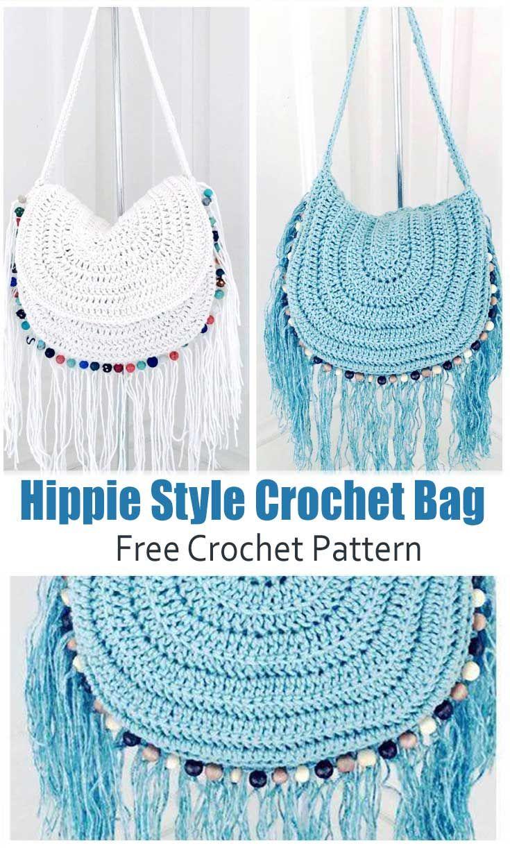 Patrón de bolsa de ganchillo estilo hippie - ¡Tutorial fácil de ganchillo!