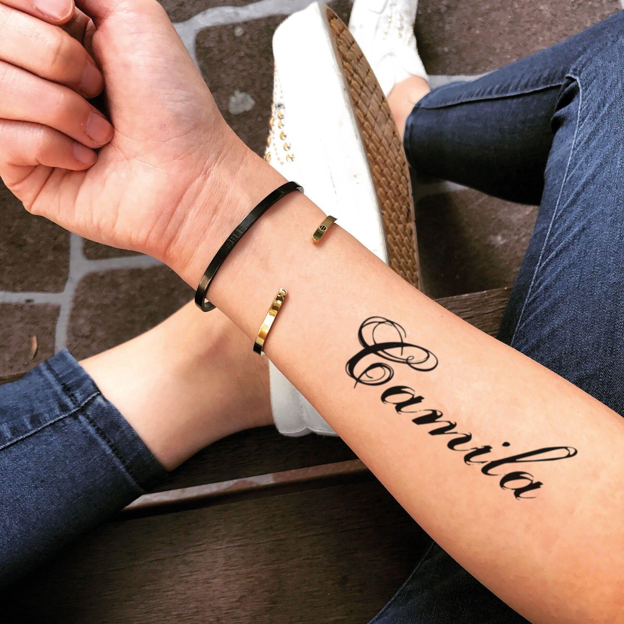 Camila Name Temporary Tattoo Sticker Set Of 2 Tatuajes De Nombres Tatuaje De Notas Tatuaje De Nombre