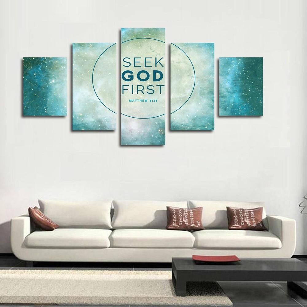 Charming Matthew U0027Seek Ye First The Kingdom Of Godu0027 Bible Verse Scripture On Canvas  Imagine What Your Room Would Look Like With This Wonderful Multi Piece  Canvas Pa