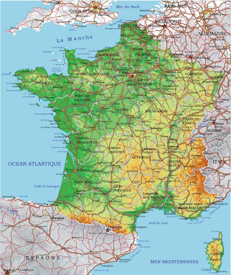 Adobe Illustrator AI vector map of France  physical and