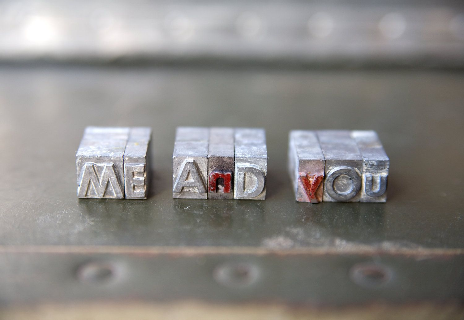 Vintage Letterpress Letters - Me and you