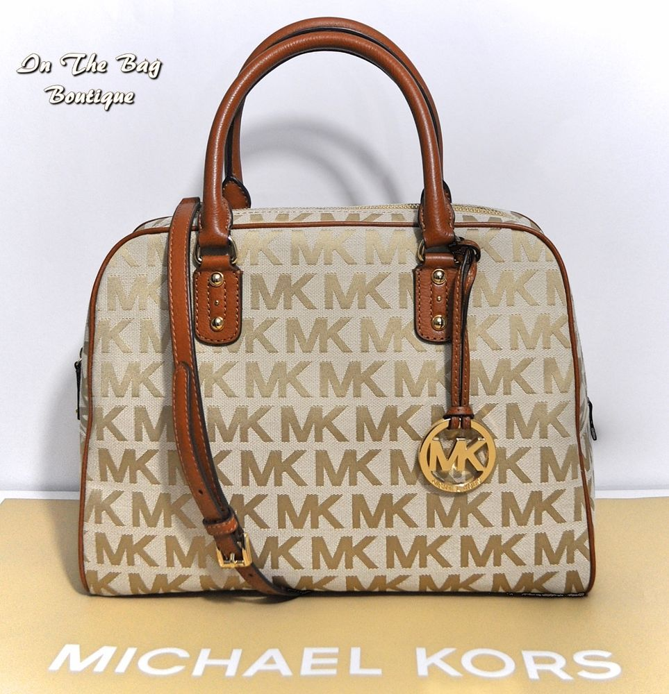 Michael Kors Large Satchel MK Signature Brown Shoulder Crossbody Bag Purse  NWT  MichaelKors  ShoulderBagSatchel 2234330b0a683