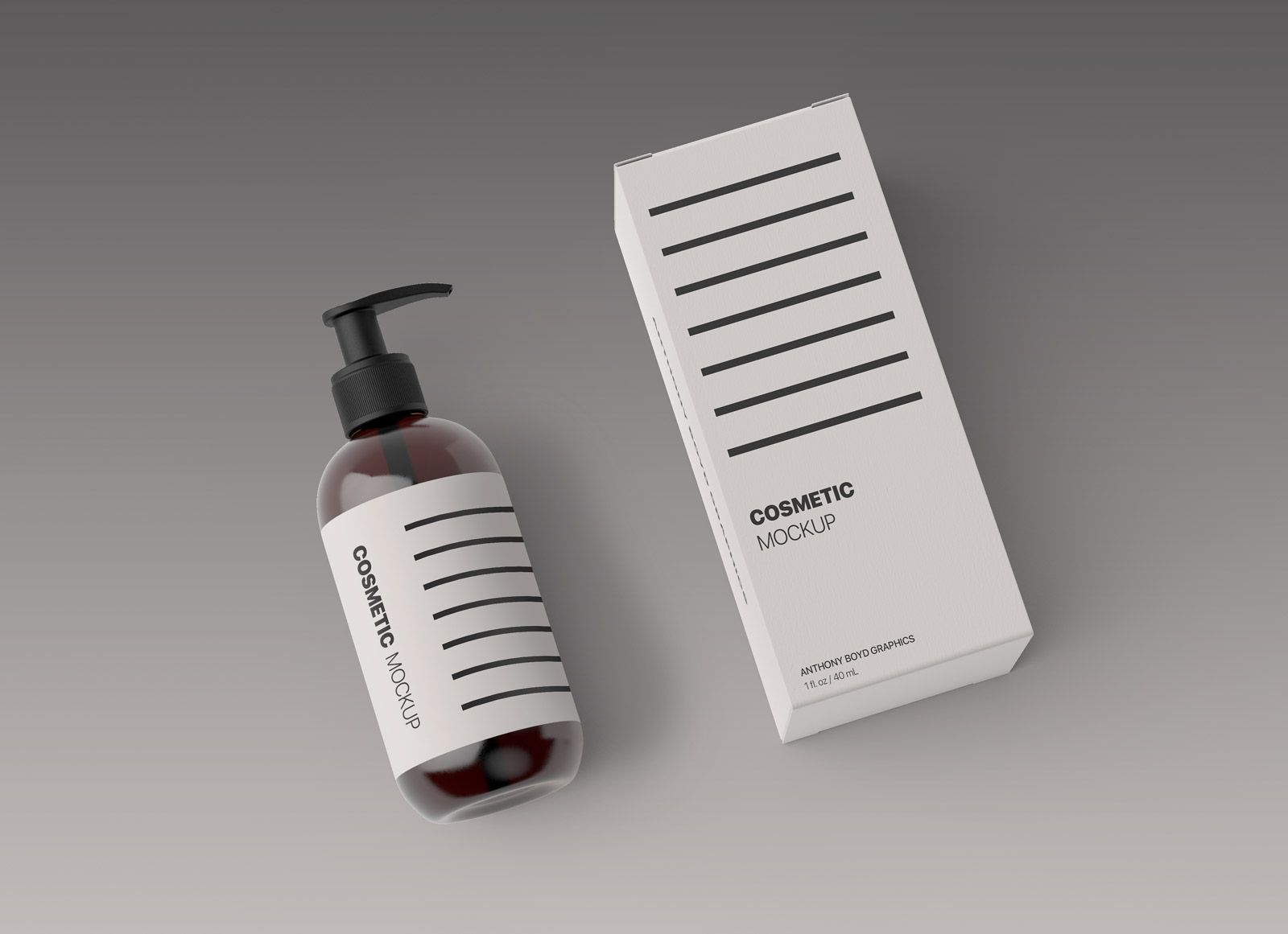 Download Free Cosmetic Spray Bottle & Box Packaging Mockup PSD