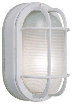 Hampton Bay Outdoor Lighting. Wall Mount Outdoor White Oval Bulkhead Light    Contemporary   Outdoor Lighting   Home Depot