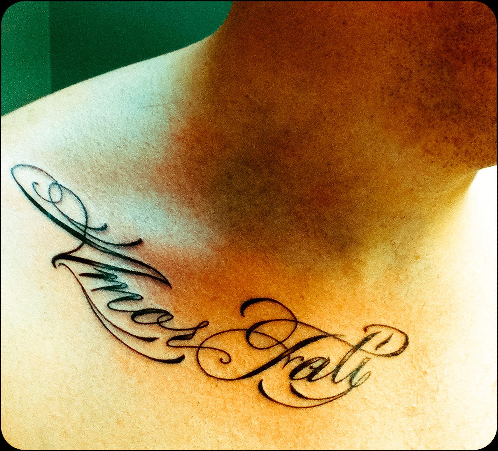 fresh ink on a friend. latin beautiful tattoo