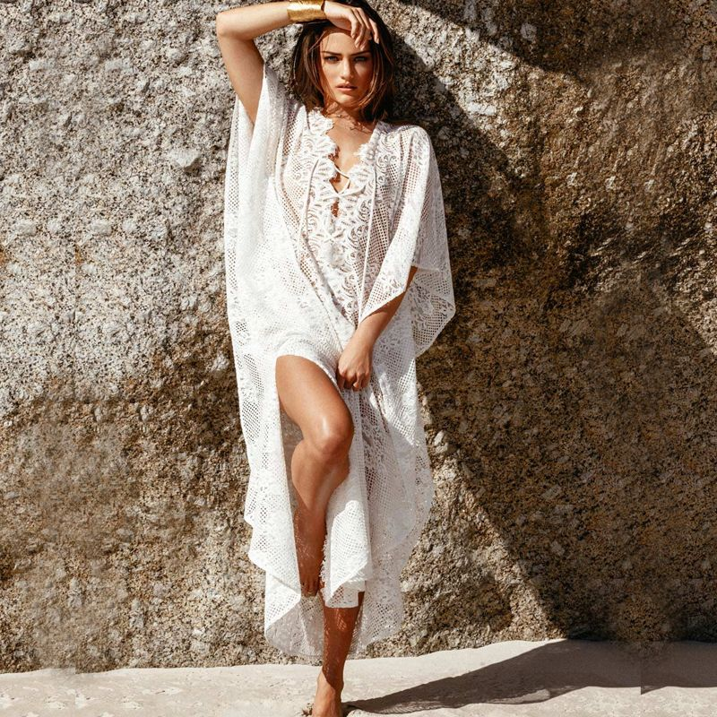 Sofia by vix women's solid nude crochet caftan cover up