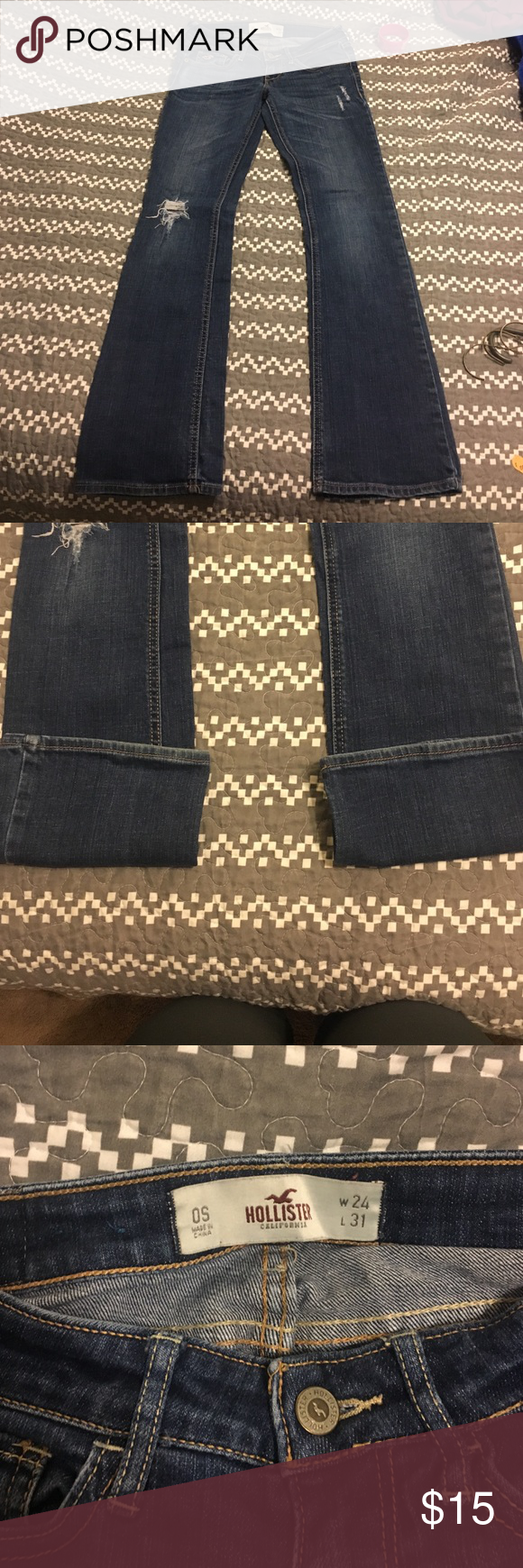 Hollister destroyed jeans Very good condition, basically no wear evidence at the bottom of the pants! The tears it already has are not messed with at all! Smoke/pet free home don't forget to bundle and save Hollister Jeans Boot Cut