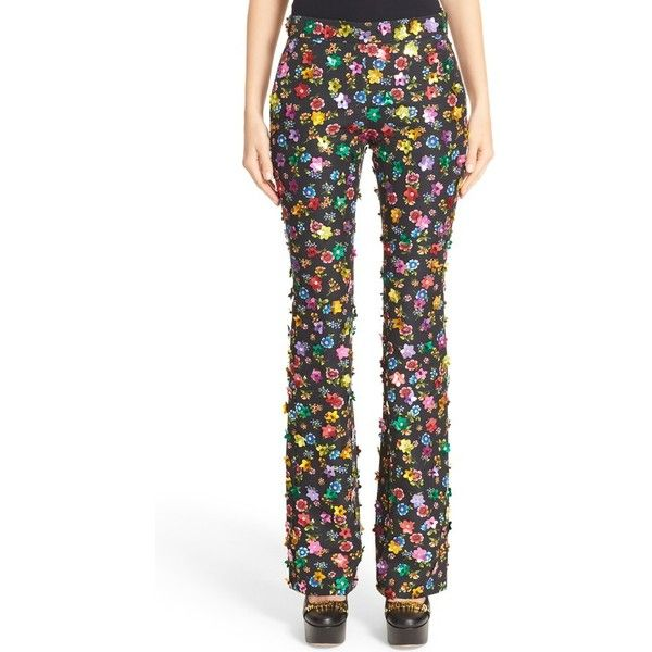 Women's Moschino Embellished Floral Print Pants (€740) ❤ liked on Polyvore featuring pants, fantasy print black, floral print pants, floral print trousers, floral pattern pants, patterned trousers and flower print pants