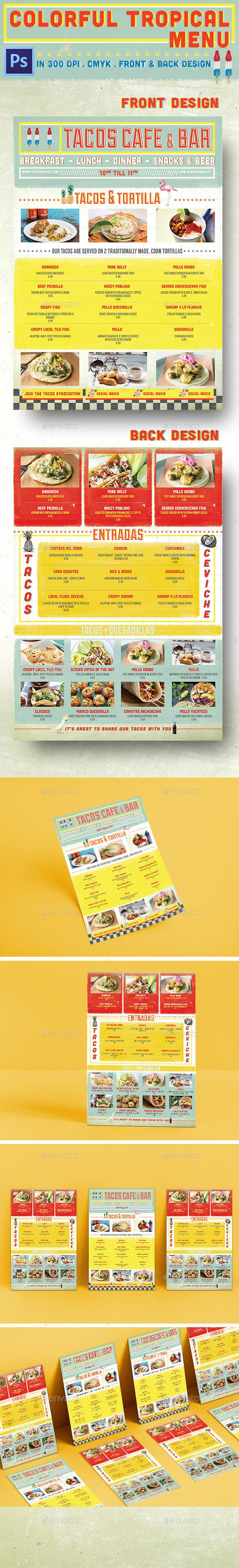 colorful tropical menu food menus print templates menu templates