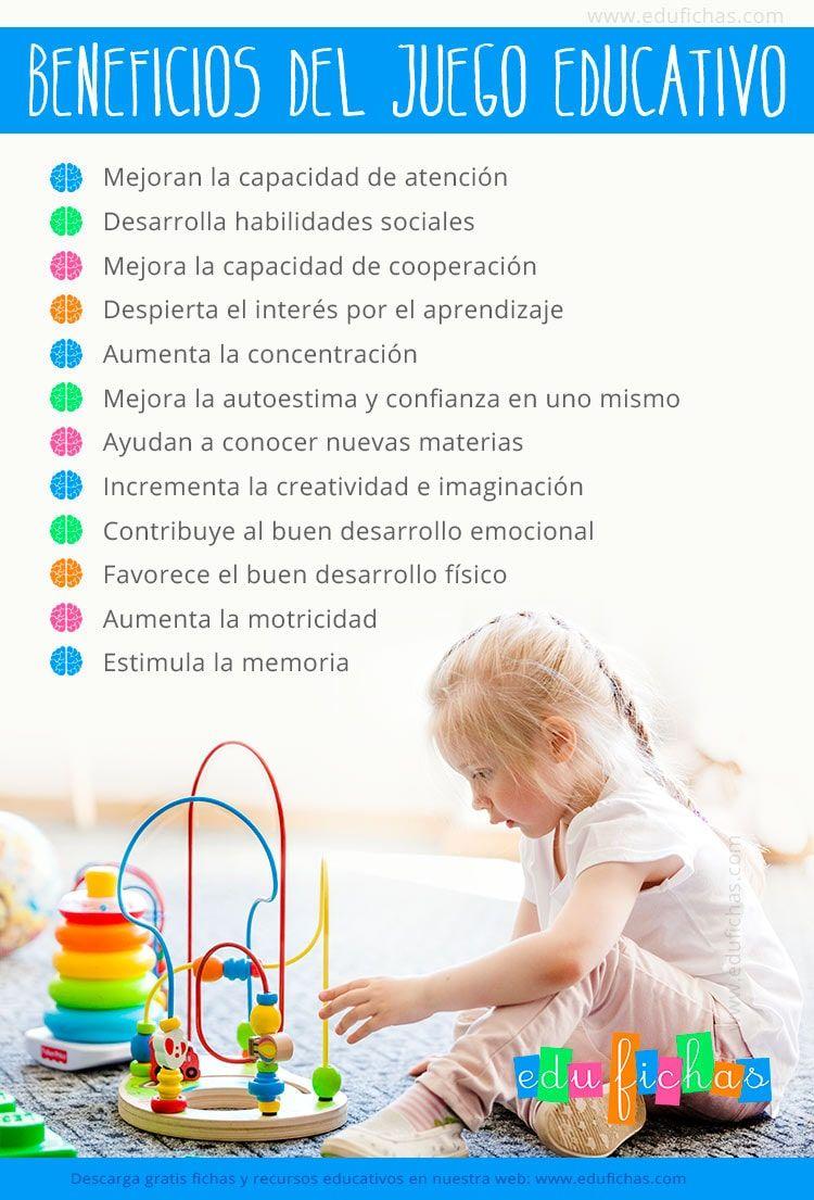 Juego Educativo 10 Beneficios Para El Desarrollo De Los Niños Infografía Juegos Educativos Para Niños Juegos Educativos Preescolar Educacion Emocional Infantil