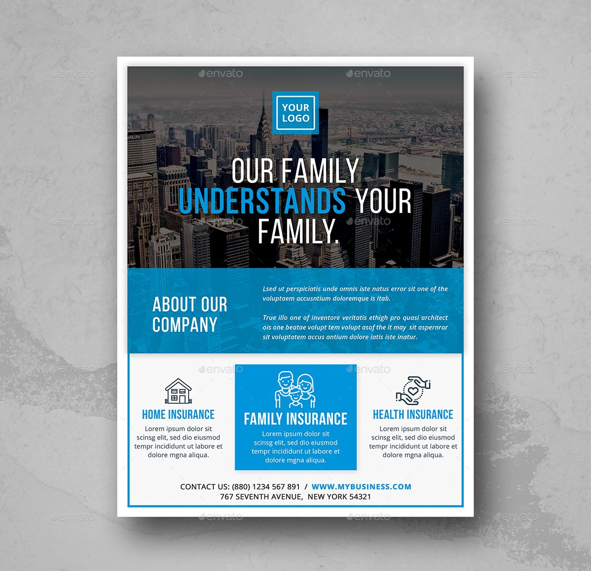 Insurance Business Flyer A4 Size Advertising Business Clean