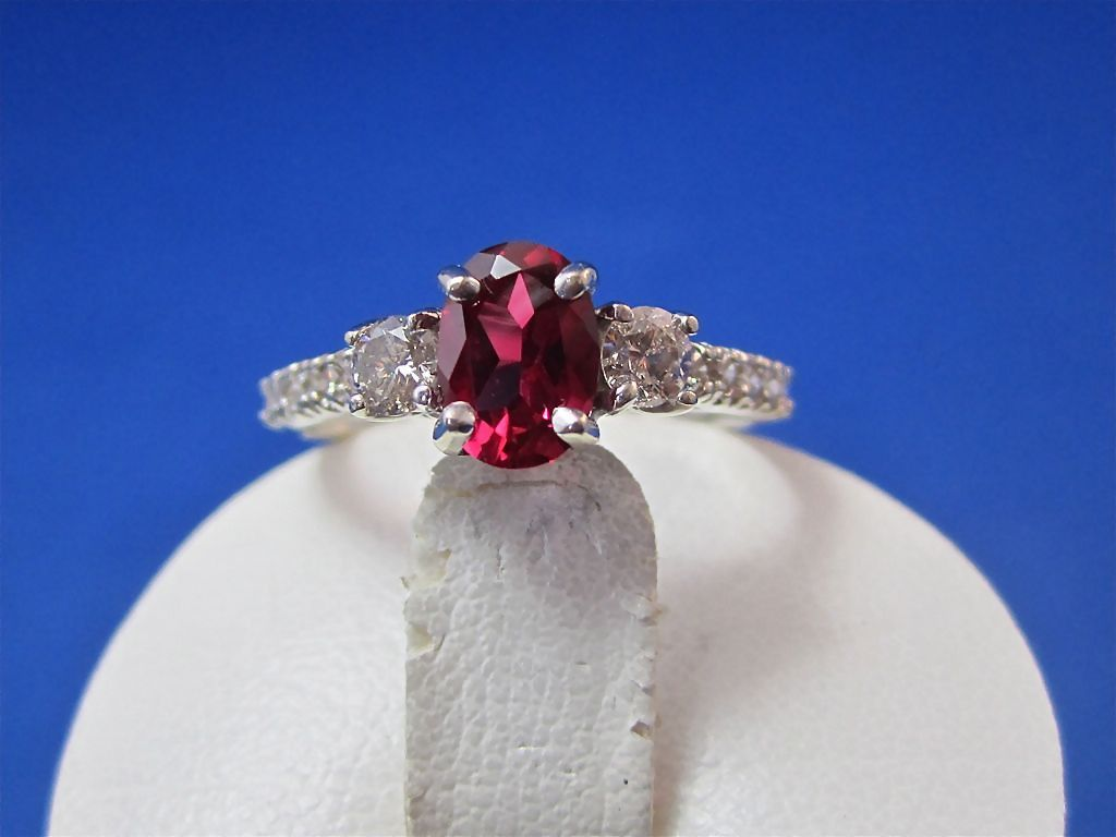 Oval Flame Fusion Vintage Ruby & .50 Carat Diamond 14K Gold Engagement Ring