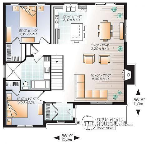 1st Level Traditional Bungalow House Plan With Open Floor Large Fireplace