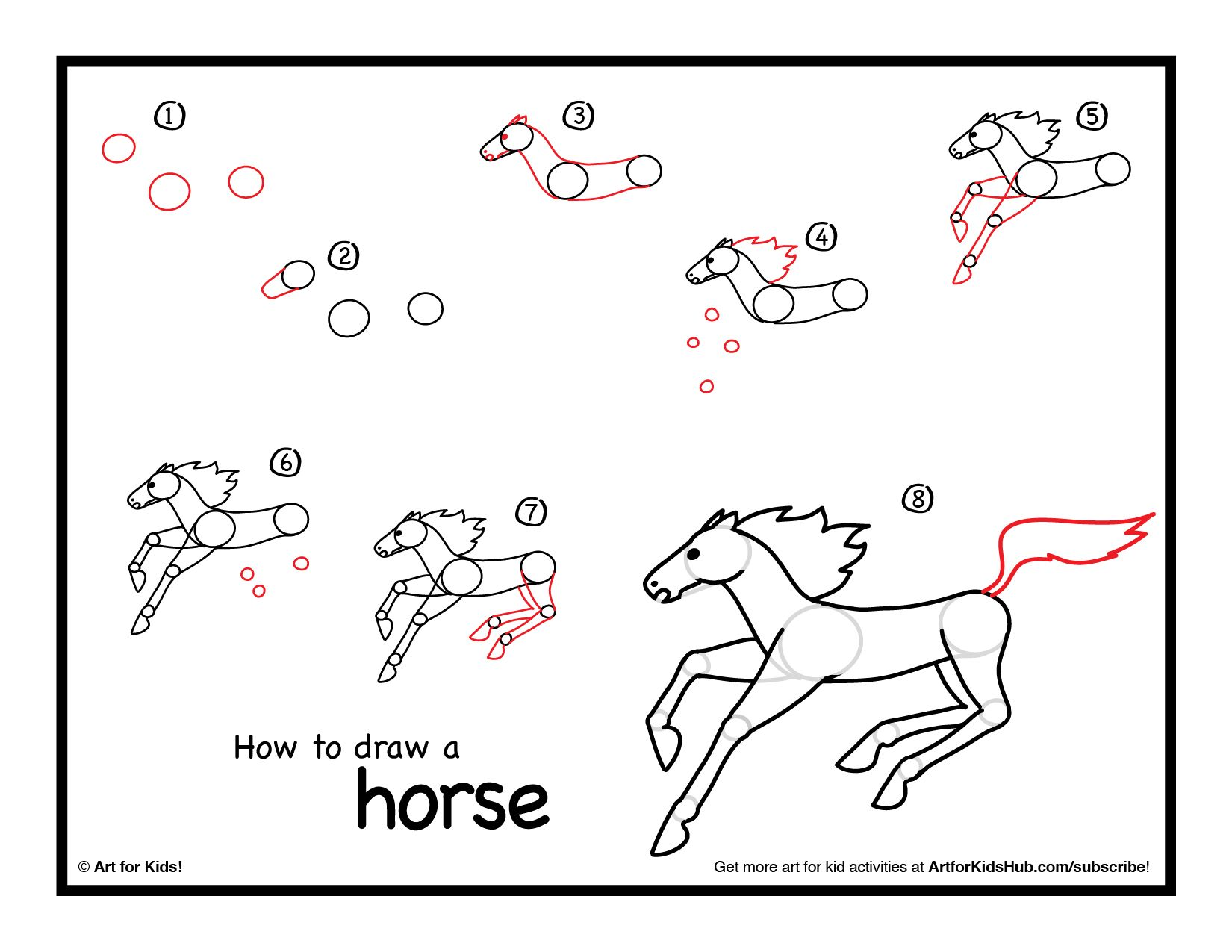 How To Draw A Horse  Art For Kids Hub
