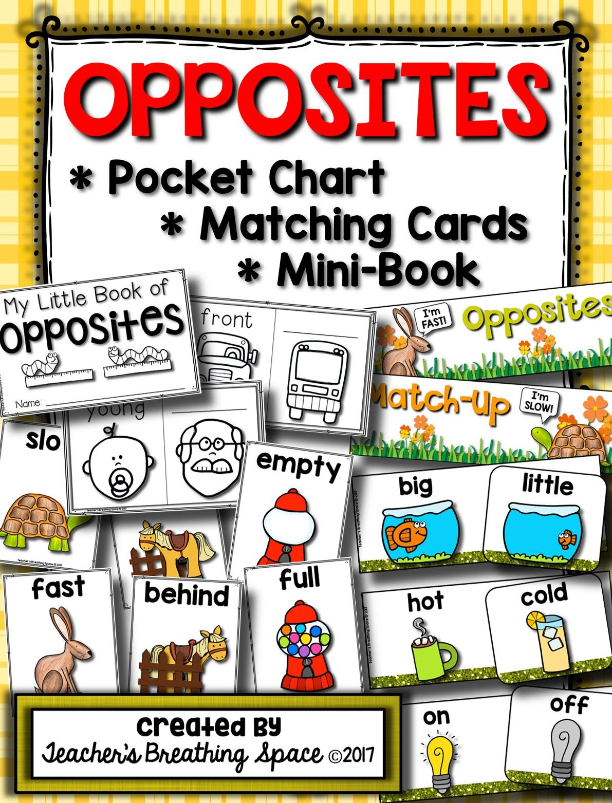 All About Opposites Matching Cards Pocket Chart Set