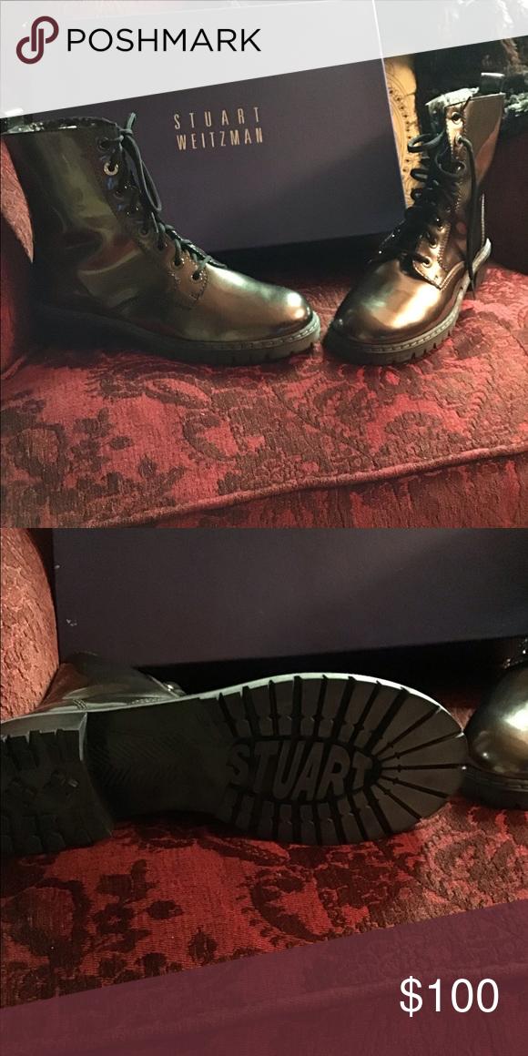 ecdaa8f604 Postman lace boot Never worn size 8 gun metal color Stuart Weitzman Shoes  Combat   Moto