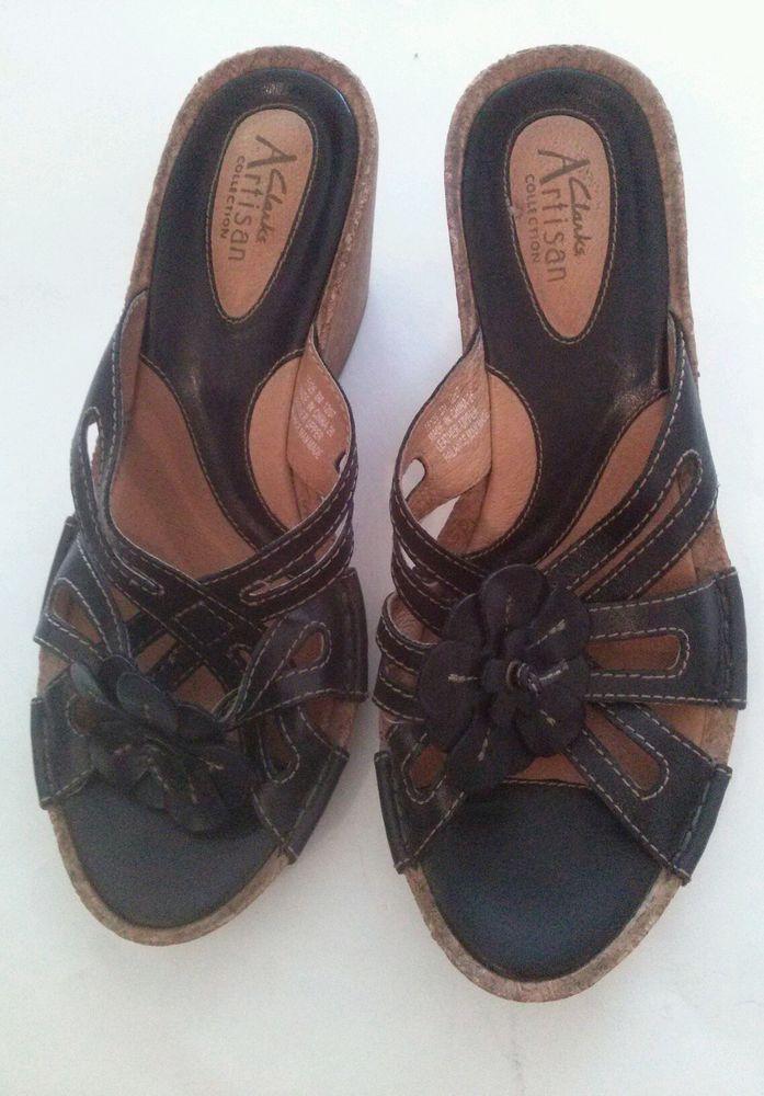 Clarks Artisan Black Leather Cork Wedge Heel Sandals