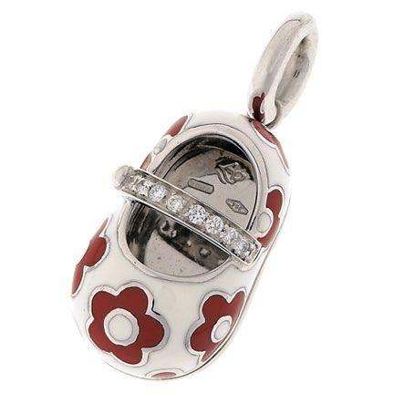 Aaron Basha Baby Shoe 18KWG WHITE RED FLOWER DIAMOND