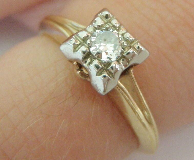 Vintage 14k Yellow Gold Illusion Set Round Diamond Engagement Ring 11ct Soli Round Diamond Engagement Rings 14k Diamond Engagement Ring Vintage Diamond Rings