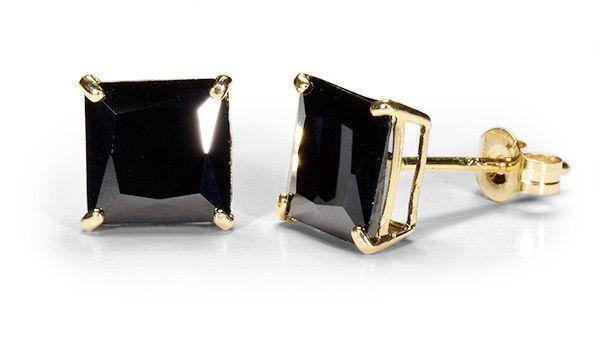 70507b59e 14K Solid Yellow Gold Princess Square Black Onyx CZ Stud Earrings Basket .