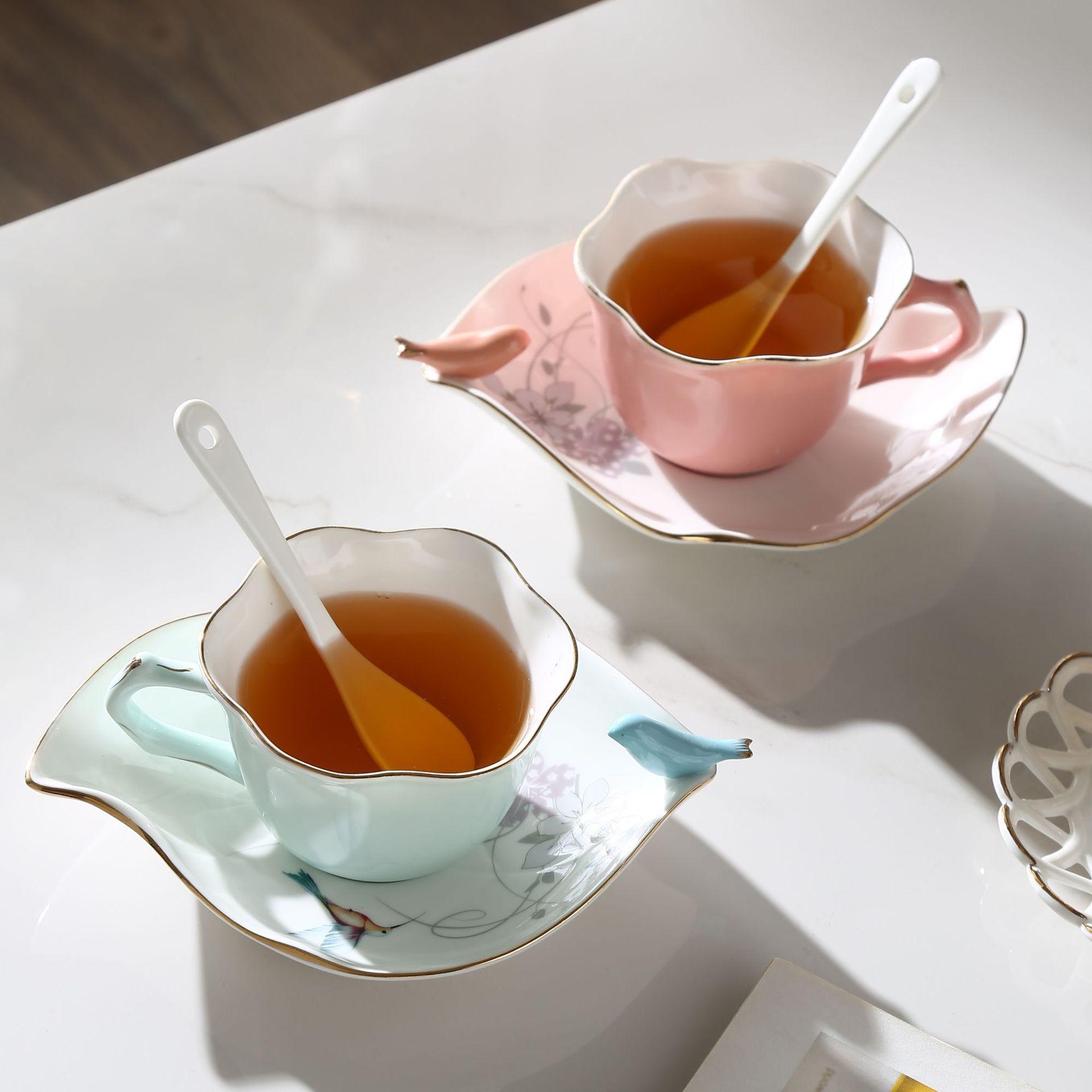 Custom bird ceramic espresso coffee cup and saucer set